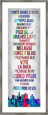 Streets Of Los Angeles 1 Framed Print by Naxart Studio