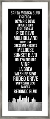 Streets Of Los Angeles 2 Framed Print by Naxart Studio
