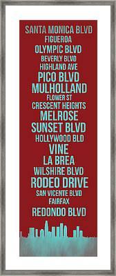 Streets Of Los Angeles 4 Framed Print by Naxart Studio