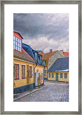 Streets Of Lund Digital Painting Framed Print