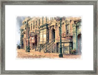 Streets Of Old New York City Watercolor Framed Print by Edward Fielding