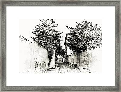 Streets Of Old Prague 1. Black And White Framed Print by Jenny Rainbow