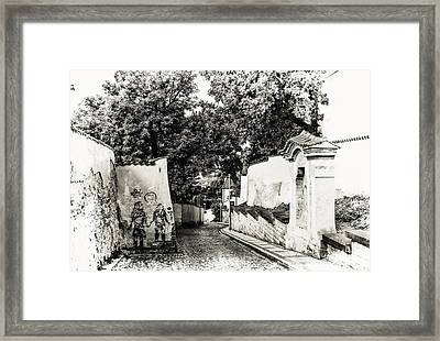 Streets Of Old Prague 2. Black And White Framed Print by Jenny Rainbow