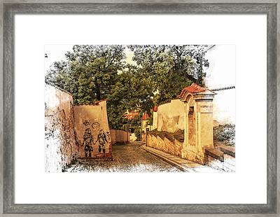 Streets Of Old Prague 2 Framed Print by Jenny Rainbow