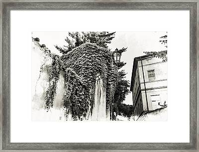 Streets Of Old Prague. Black And White Framed Print by Jenny Rainbow