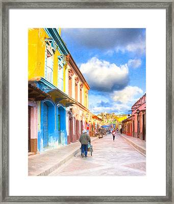 Streets Of San Cristobal De Las Casas - Colorful Mexico Framed Print by Mark E Tisdale