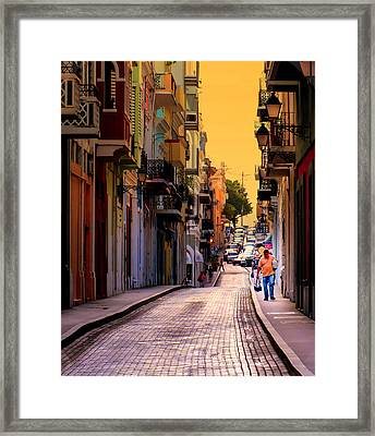 Streets Of San Juan Framed Print by Karen Wiles