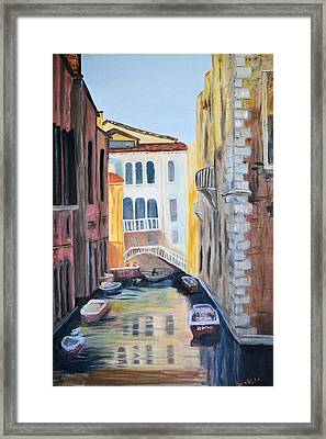 Framed Print featuring the painting Streets Of Venice by Debbie Baker