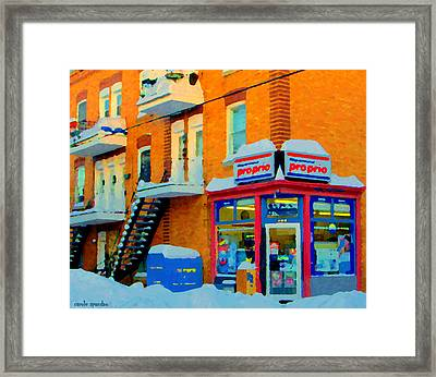 Streets Of Verdun Corner Depanneur Proprio Staircases In Winter Montreal City Scene Carole Spandau Framed Print by Carole Spandau