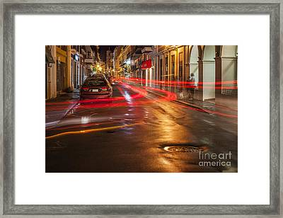 Framed Print featuring the photograph Streetscene At Night In Old San Juan Puerto Rico by Bryan Mullennix