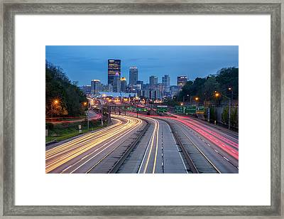 Streaming Into Town Framed Print