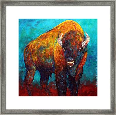 Strength Of The Bison Framed Print