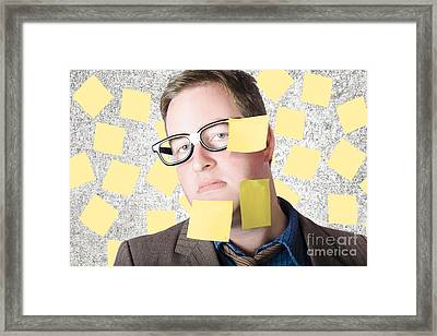 Stressed Businessman Multitasking Huge Agenda Framed Print