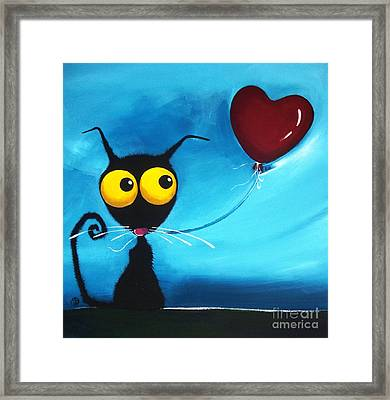 Stressie Cat And Her Love Balloon Framed Print