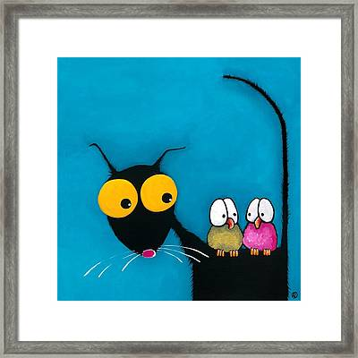 Stressie Cat And The Whimsical Birds Framed Print