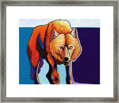 Strictly Business - Arctic Wolf Framed Print by Joe  Triano
