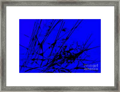 Strike Out Blue And Black Abstract Framed Print by Natalie Kinnear