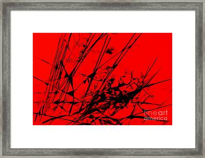 Strike Out Red And Black Abstract Framed Print by Natalie Kinnear