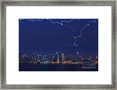 Strikes And Bolts In Nyc Framed Print by Susan Candelario