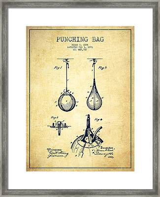 Striking Bag Patent Drawing From 1891 - Vintage Framed Print by Aged Pixel