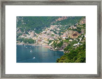 Striking Beauty Of Positano Framed Print by Marilyn Dunlap