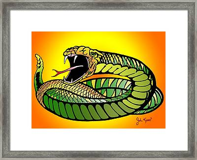 Striking Snake Framed Print by John Keaton
