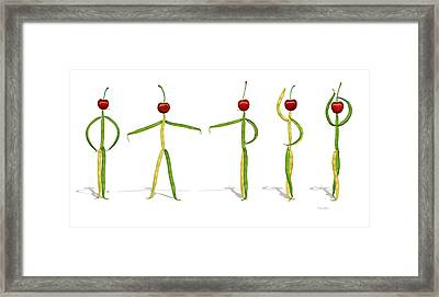 Stringbean Cherries Five Ballet Positions  Framed Print by Donna Basile