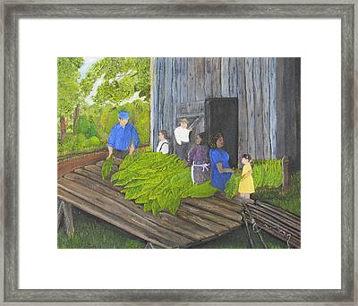 Stringing Tobacco Framed Print