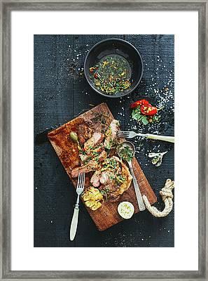 Strip Steak Framed Print by Eugene Mymrin