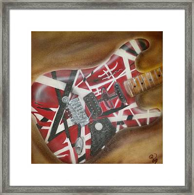 Striped Guitar Framed Print by Phillip Whitehead