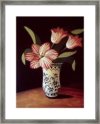 Striped Tulip  Framed Print by Dory Coffee