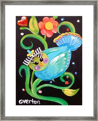 Stripey Birdy Framed Print