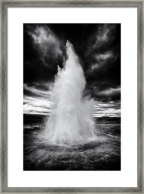 Strokkur Geyser Iceland Black And White Framed Print