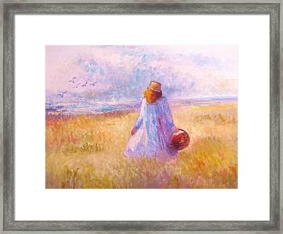 Stroll By The Sea Framed Print by Martha Sterling