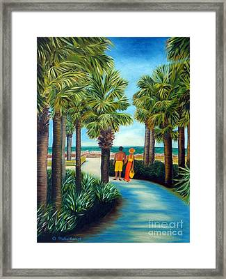 Framed Print featuring the painting Stroll In Paradise Plantation by Shelia Kempf