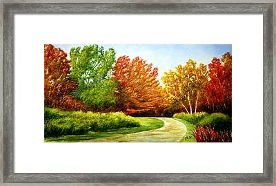 Stroll Into Autumn Framed Print