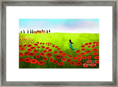 Strolling Among The Red Poppies Framed Print