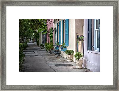 Strolling Down Rainbow Row Framed Print