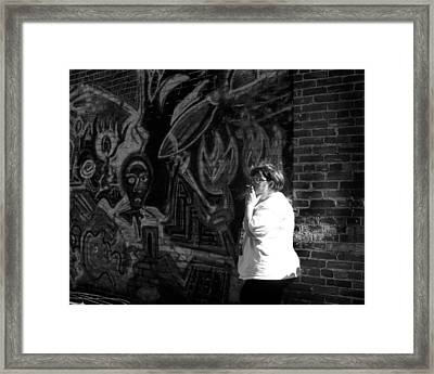 Strolling Down The Alley Framed Print by Mary Ely
