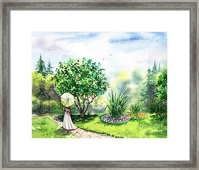 Strolling In The Garden Framed Print