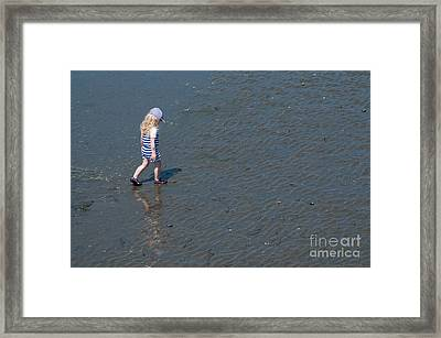 Strolling On The Beach Framed Print by Malu Couttolenc