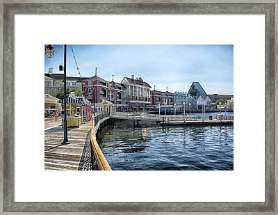 Strolling On The Boardwalk At Disney World Framed Print