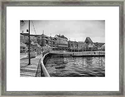 Strolling On The Boardwalk In Black And White Walt Disney World Framed Print