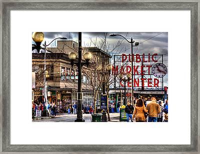 Strolling Towards The Market - Seattle Washington Framed Print by David Patterson