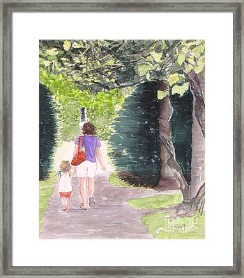 Strolling With Mom Framed Print