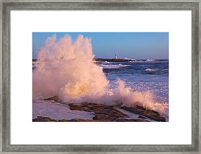 Strong Winds Blow Waves Onto Rocks Framed Print by Thomas Kitchin & Victoria Hurst