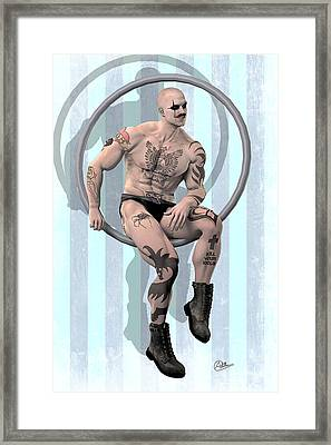 Trapeze Artist Solitary Framed Print by Quim Abella