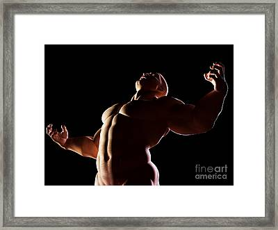 Strongman Hero Showing Muscular Body Framed Print