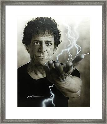 Lou Reed - ' Struck By The Power And The Glory ' Framed Print by Christian Chapman Art