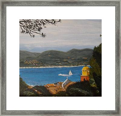 Framed Print featuring the painting St.tropez France by Betty-Anne McDonald